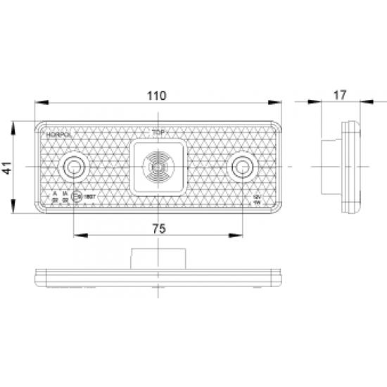 Lampa marcaj semiremorci cu LED pe suport  LD 162/1