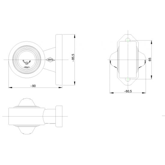 Lamap gabarit LED rotund alb-rosu 90*85/65; 12-24V LD 364