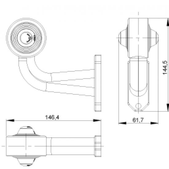 LAMPA  LED gabarit 2 CULORI STANGA 146*145/65 12/24V   LD 367L