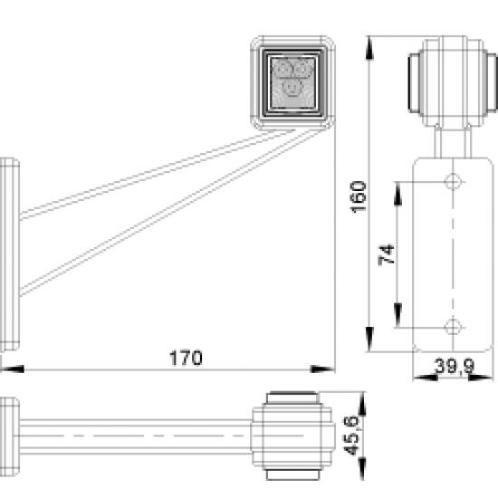 Lampa de gabarit LED stanga 47*47; 12-24V  LD 442L