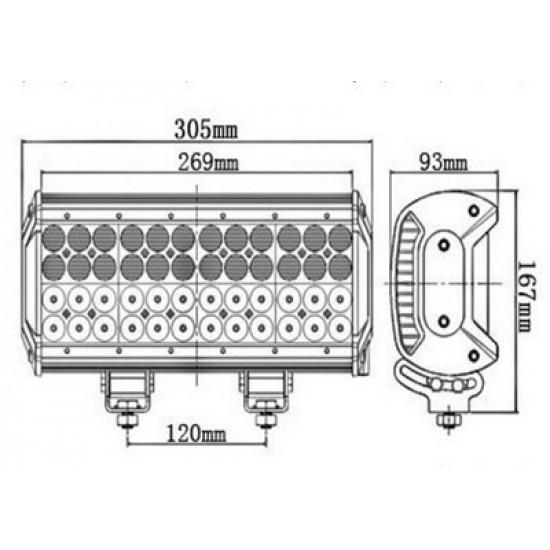 Proiector LED 2 faze 30 cm 144 W